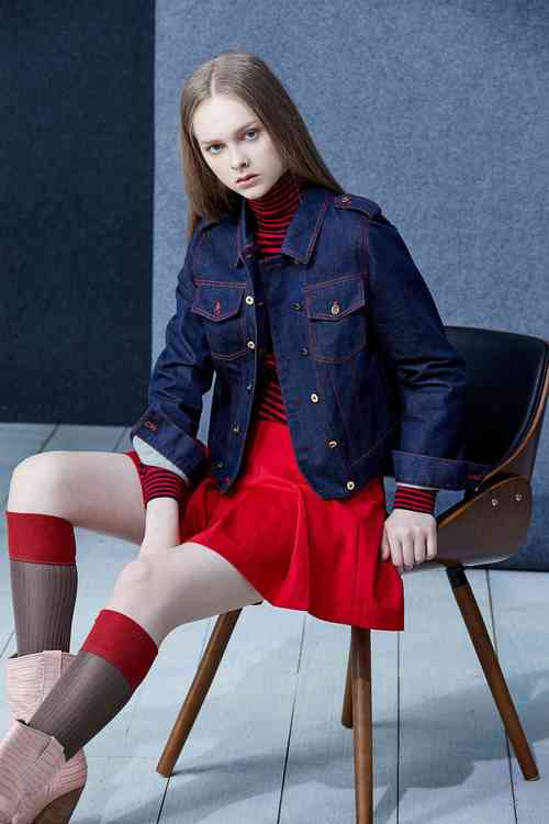 Red threads denim coat
