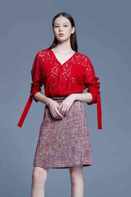 Red lace smock