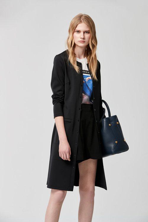 Round-necked long-sleeved basic jacket