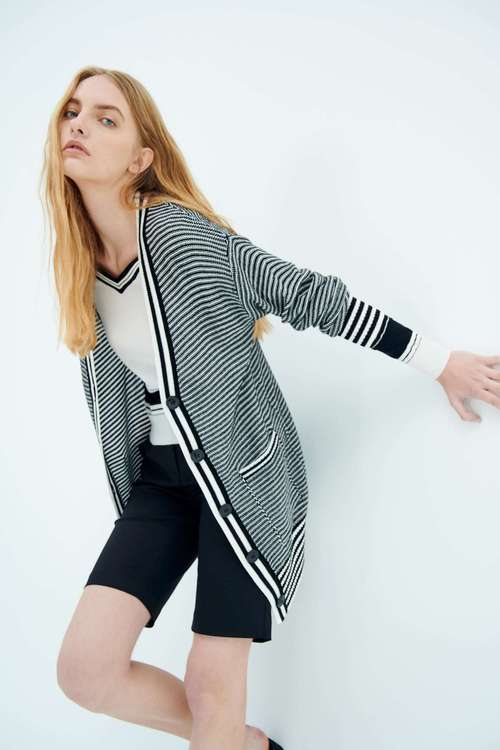 gradual striped knitted jacket