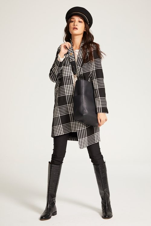Plaid suit collar coat