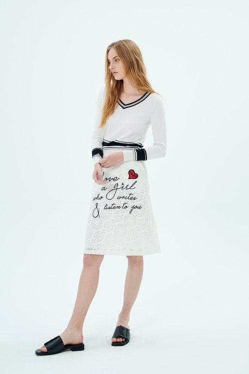 Text embroidered lace dress