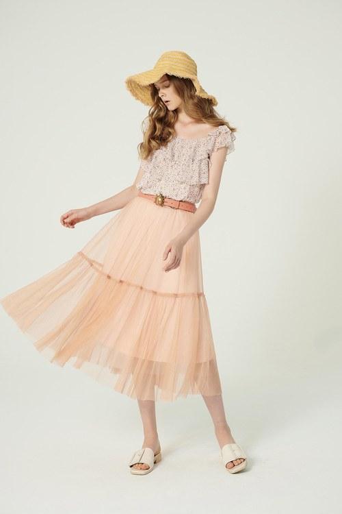 Little woman pink mesh long dress