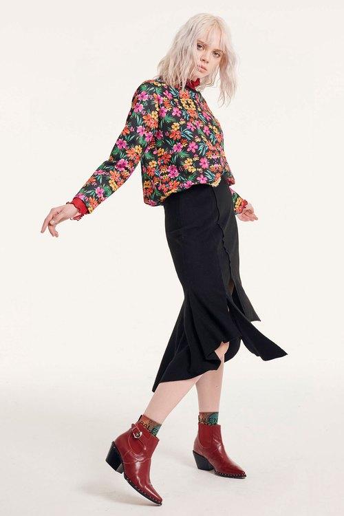 Irregularfold fishtail skirt