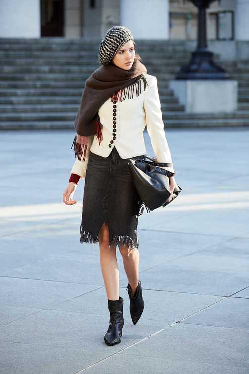 Side-breasted skirt