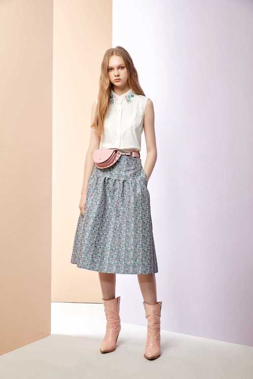 Jacquard half-long skirt
