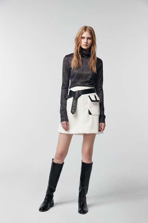 White stitched leather skirt