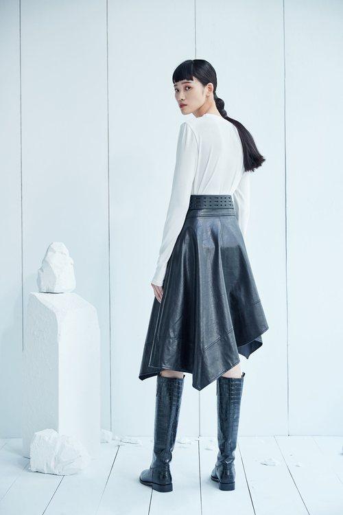 Imitation leather irregular cut long skirt