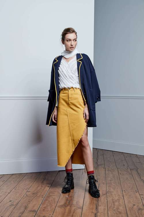 Mustard yellow open denim skirt