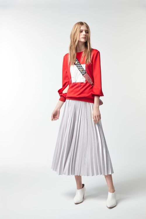 Silver pleated long skirt