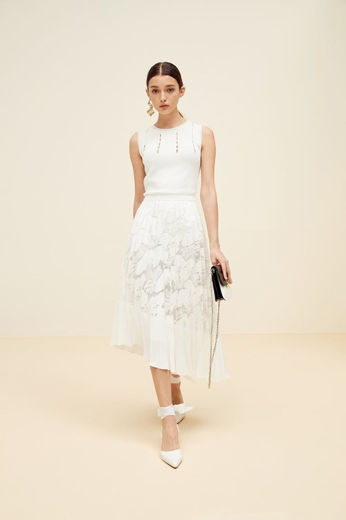 Temperament accordion pleated skirt