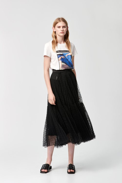 Two-piece fine-dot mesh skirt