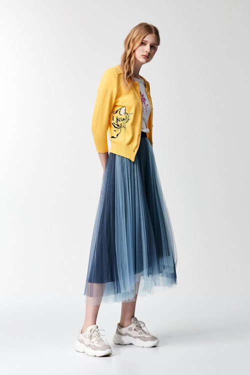 Color-matching mesh loose long skirt
