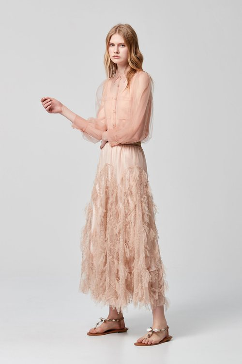 Dry rose TULLE dress