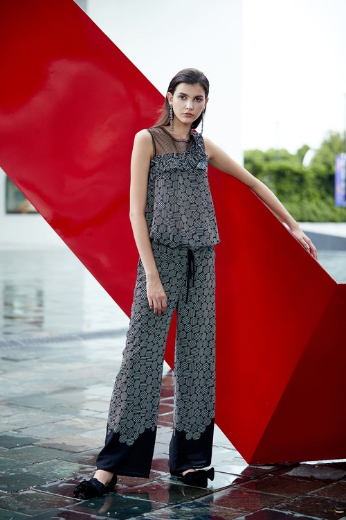 dot totem wide leg pants
