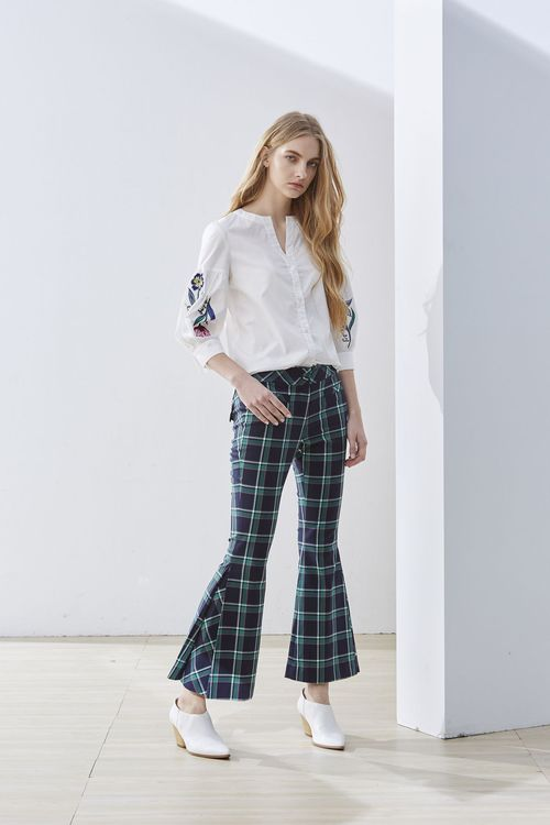 Plaid horn woman design trousers