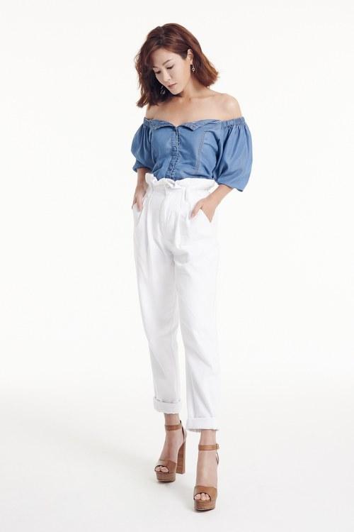 tube ruffle  sleeves Vintage Pants set(Claire co-branding)