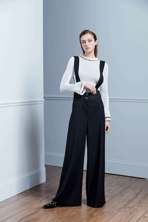 Striped strap-style sling-style trousers