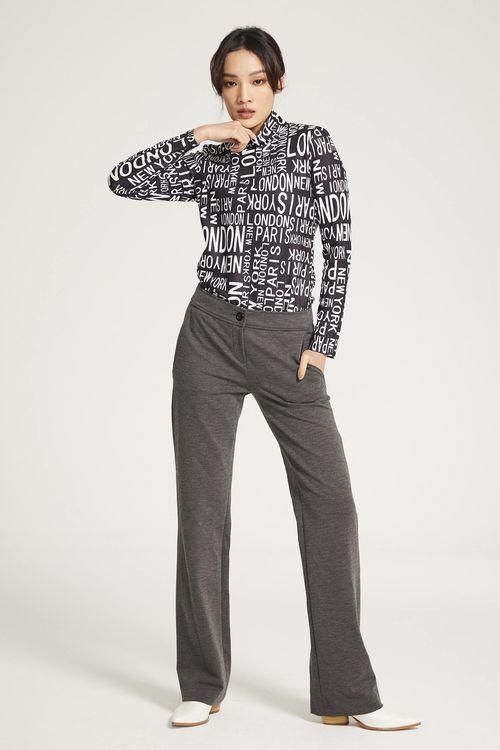 Elastic straight trousers