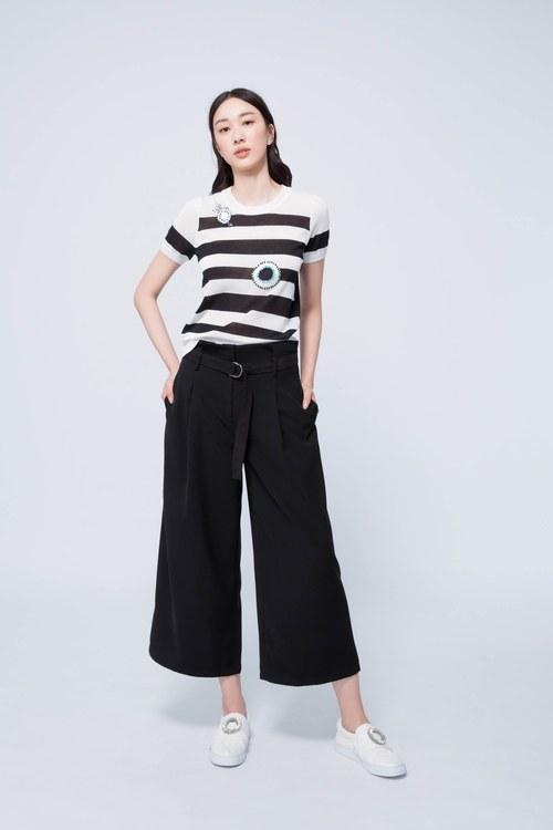Designer long skirt with logo belt