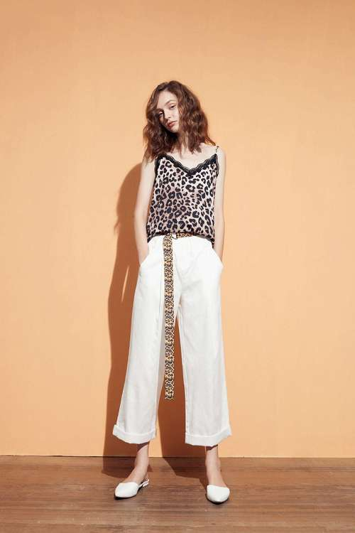 Leopard-print belt pants
