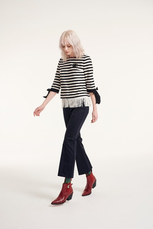 Elastic-fit flared trousers
