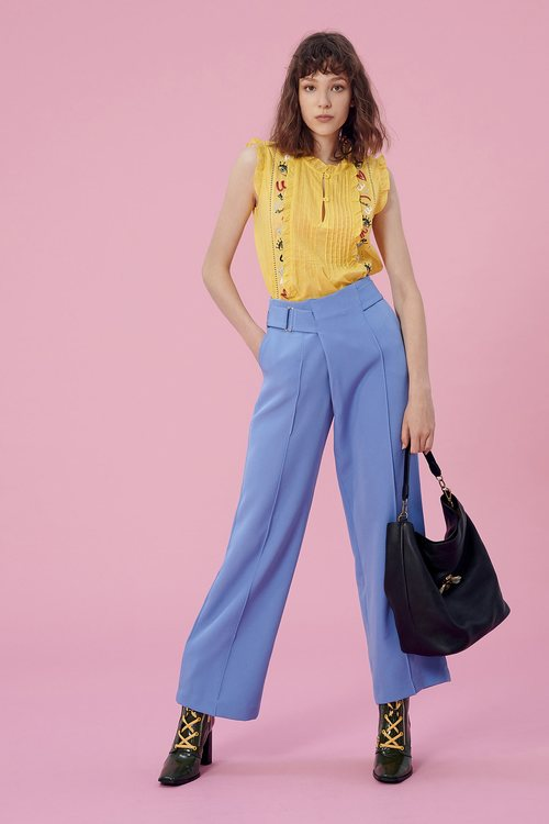 Sky blue pleated trousers