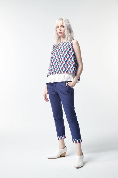 Dark blue stitched print narrow tube pants