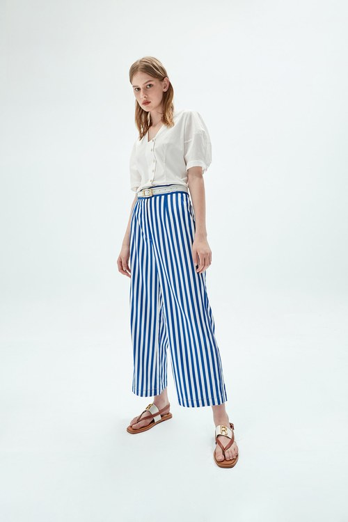 Striped wide pants
