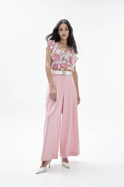 Pink high-waisted wide pants