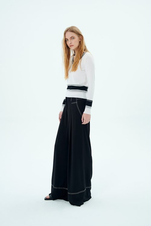 white line WIDE FLOWING TROUSERS