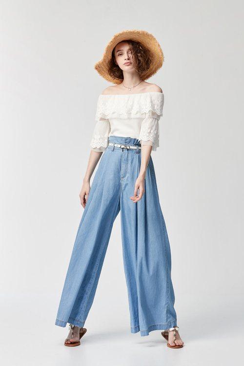 Denim high-waisted wide pants