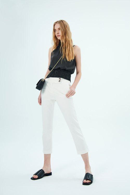 White elastic narrow tube pants