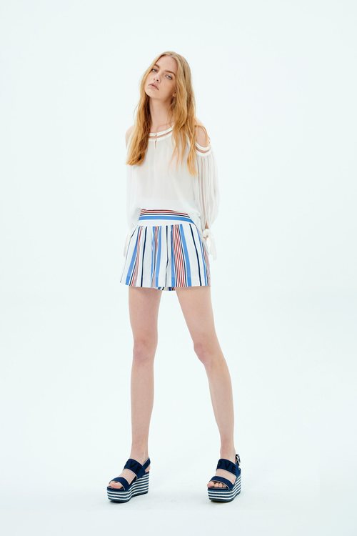 printed striped shorts