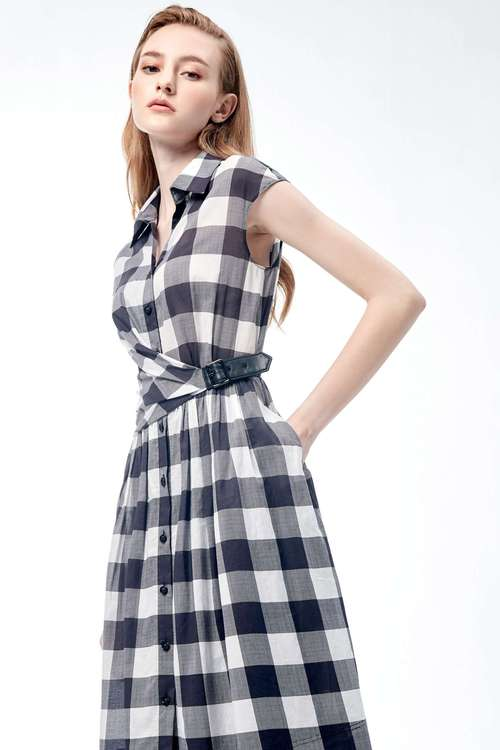 Plaid side buckle dress
