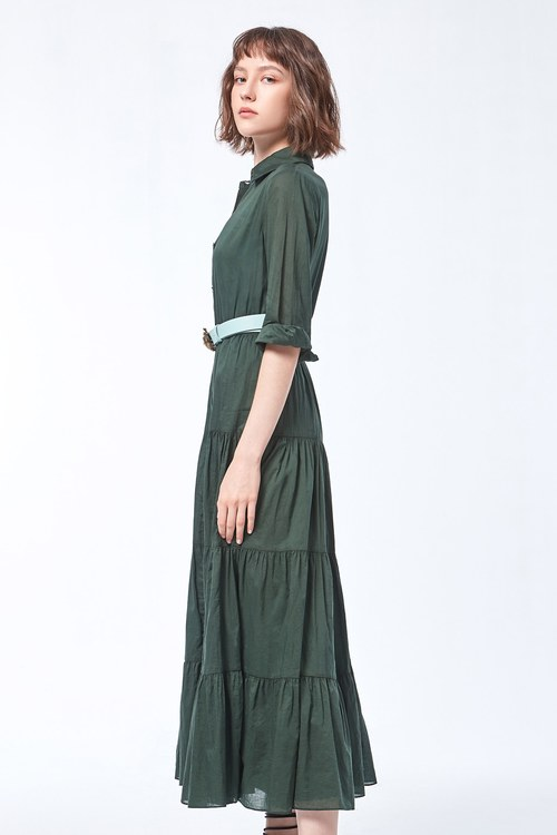 Dark green buckle long dress