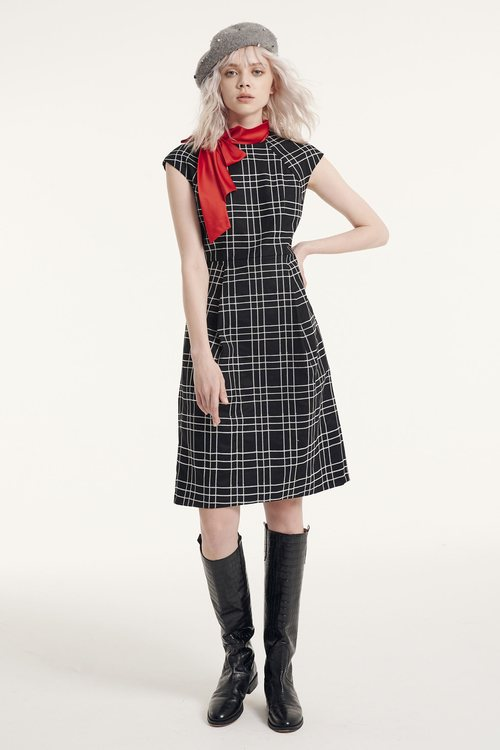 Plaid silk scarf dress