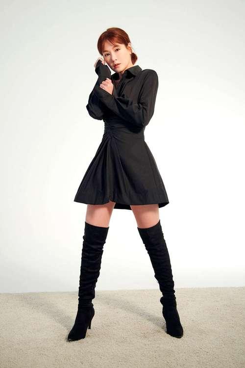Black waistshirt dress
