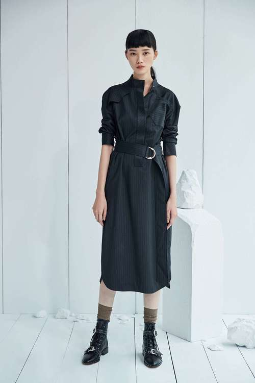 Long-sleeved dresses without lining pocket stripes