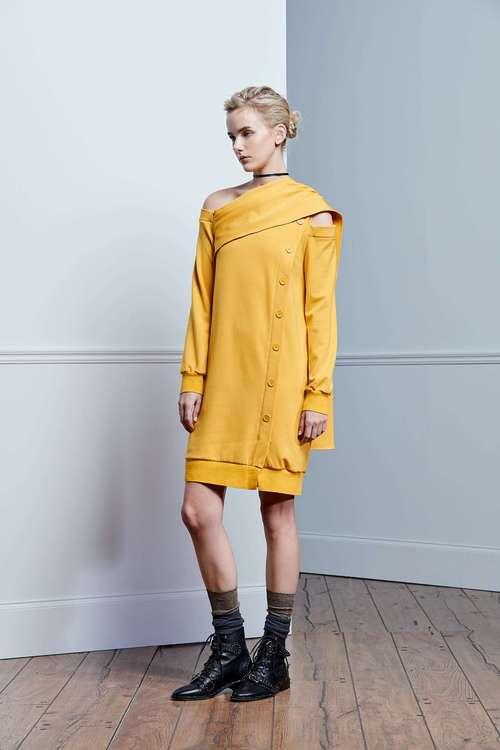 Mustard yellow slanted shawl dress