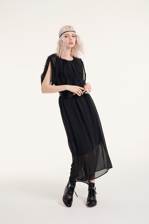 Lace chiffon long dress