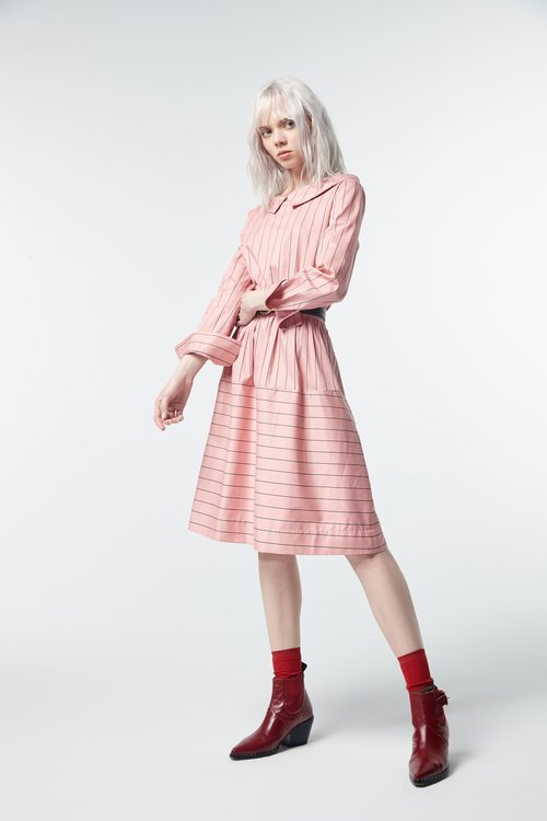 Striped large lapel long-sleeved dress