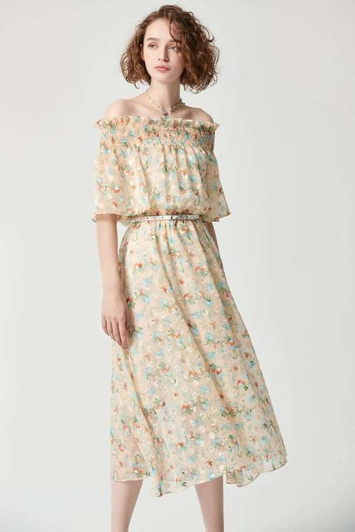 One-word collar waist flower dress