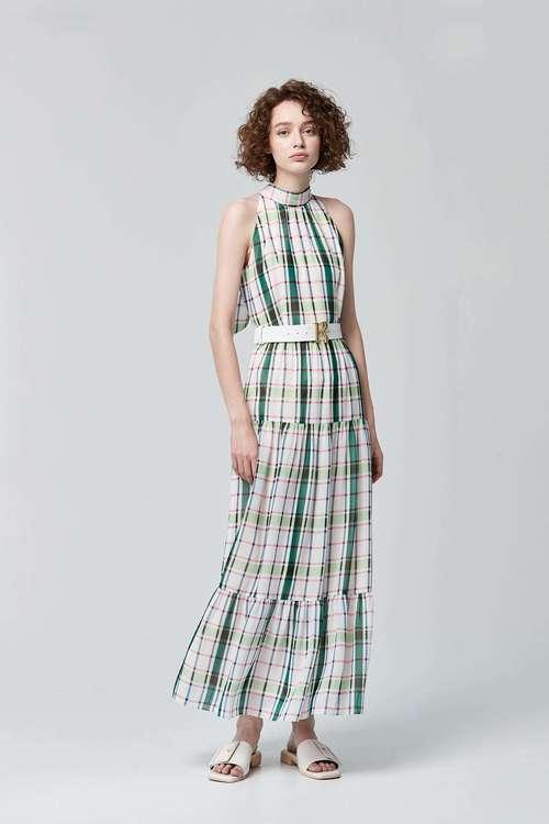 Plaid print shoulder-cut dress