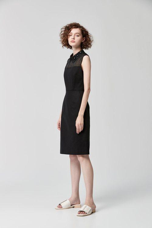 Stitched lace collar dress