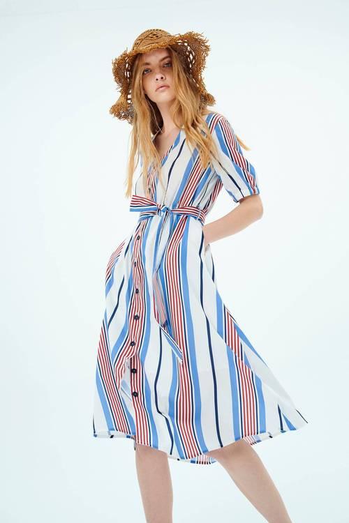 Asymmetric striped print dress