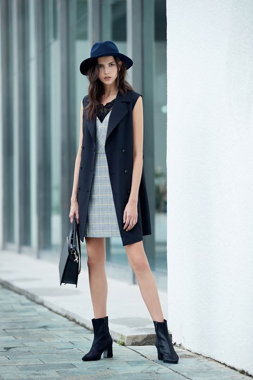 Classic England checkered V neck tailoring dress