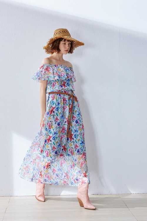 Translucent floral design dress