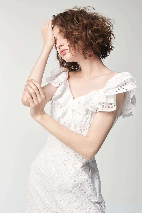 (Only online)Elegant ruffled lace dress