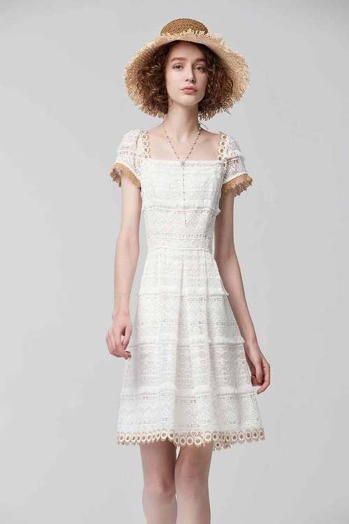 White Tassel Lace Dress